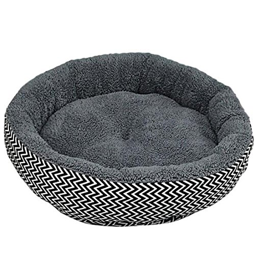 BestMall Soft Warm Pet Bed Round Pad Pet Cushion Red Blue V-Shaped Pattern