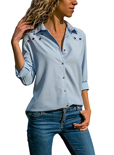 Aleumdr Bluse Damen Casual Damen Elegant Tunika Bluse V Ausschnitt Bluse Business Langarm mit Knopfleiste Hemd Oberteile elegant einfarbig