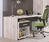 Dreams4Home Schreibtisch 'Bari' - Tisch, Arbeitstisch, Schreibtisch, B/H/T: 140 x 72 x 70 cm, PC-Tisch, Büro Tisch, Büro, Jugendzimmer, Kinderzimmer, Schlafzimmer, Gästezimmer, in Weißeiche NB + Lava, Ausführung:ohne Rollcontainer