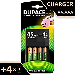 Duracell 45 Minute Charger, with 2 x AA and 2 x AAA Rechargeable Batteries