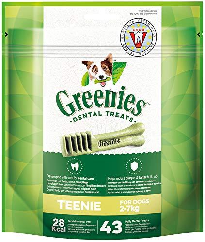 Greenies Original tägliche Zahnpflegesnacks Teenie, Hundeleckerli zur täglichen Zahnreinigung für sehr kleine Hunde von 2-7kg, 43 Sticks -