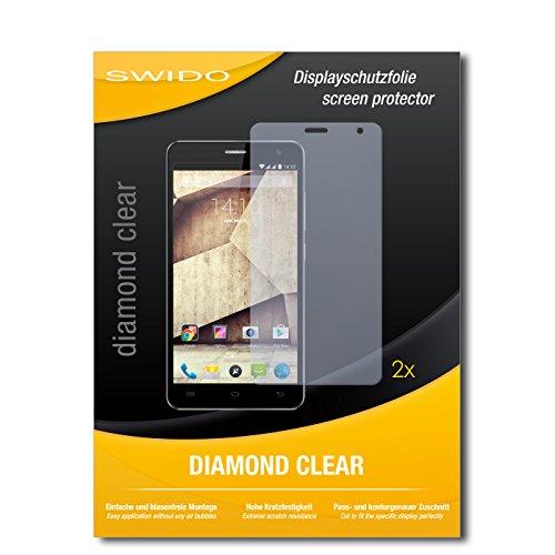 SWIDO 2 x Bildschirmschutzfolie Allview P6 Qmax Schutzfolie Folie DiamondClear unsichtbar