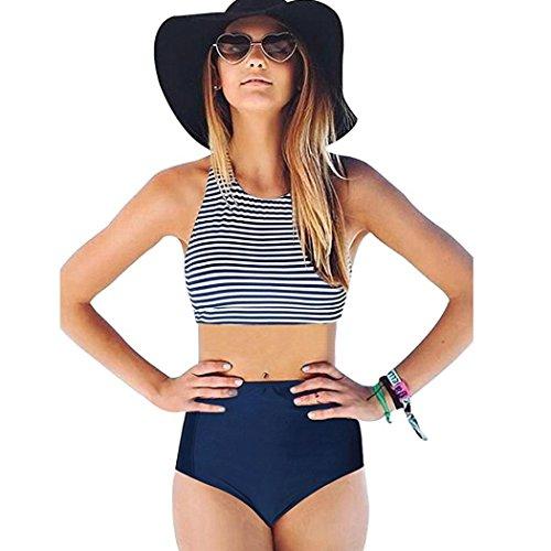 Btruely Bikinis Set Damen Sexy Badeanzug Swimwear Bikini Push Up Bandeau Neckholder Strand Bademode Hohe Taille Badeanzug bandage Tankini Streifen Beachwer (XL, Blau) (V-neck-tankini-badeanzug)
