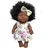 feiXIANG Bambola Africana Ragazzo di Natale Pagliaccetti Bambina Bambolotto Neonato Reborn Interattivi Vestiti Cicciobello Bambolina Giocattolo Nero Baby Doll Bambini Regalo Compleanno Bambole Emulata