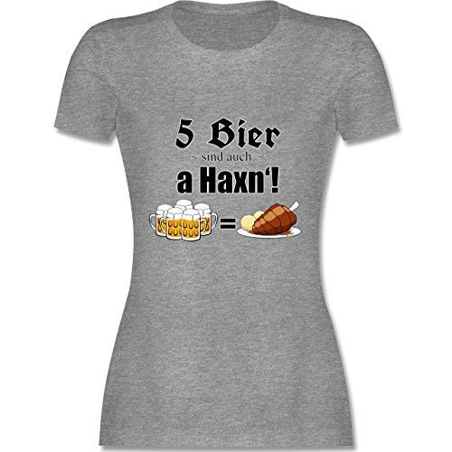 Oktoberfest Damen - 5 Bier sind auch a Haxn'! - tailliertes Premium T-Shirt mit Rundhalsausschnitt für Damen Grau Meliert
