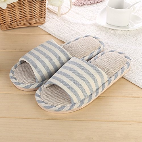 Minetom Donne Uomini Unisex Pantofole Morbido Lino Interno Scarpe Coppia Pantofole Azzurro