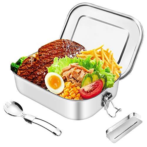 HB life Brotdose aus Edelstahl Lunchbox Bento Box Metall Dichte Brotdose Lunchbox für aus laufsicher 1400ml Fassungsvermögen mit Fächern Geeignet für Reisen/Arbeit/Schulkinder und Erwachsene (Und Lunch-box)