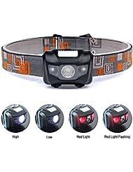 Lampe Frontale LED Puissante, Kungix Projecteur Mains-libres 4 Modes d'éclairage Pour le Camping, le Ski, la Chasse et la Lecture.