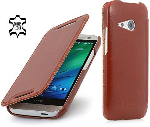 StilGut® UltraSlim Case, Tasche in Book Type Stil aus Leder für HTC One Mini 2, Cognac (Htc One Mini 2 Case)