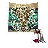 QEES Elefant Wandteppich mit Böhmischem Stil Indisch Hippie Wanddeko Wandbenhang Wandtuch Tischdecke Dekoration für Schlafzimmer Wohnzimmer usw GT02 (Khaki)