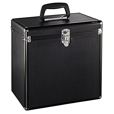 Hama LP Case in Aluminium Look Lockable for storing 50 Record Vinyl Record Storage Case Black