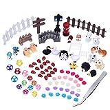 89 pezzi kit set d'ornamenti in miniatura con 1 pezzo pinzetta per fata giardino fai da te casa delle bambole decorazione set kit con 1 pezzo per fai da te dollhouse