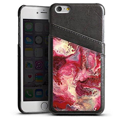 Apple iPhone 4 Housse Étui Silicone Coque Protection Marbre Structure Rouge Étui en cuir gris