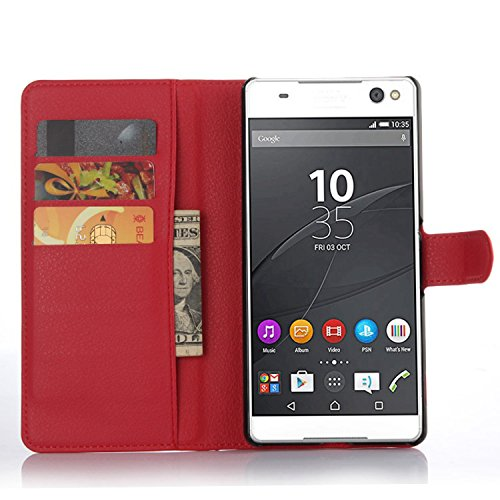 Tasche für Sony Xperia C5 Ultra (6 zoll) Hülle, Ycloud PU Ledertasche Flip Cover Wallet Case Handyhülle mit Stand Function Credit Card Slots Bookstyle Purse Design rote