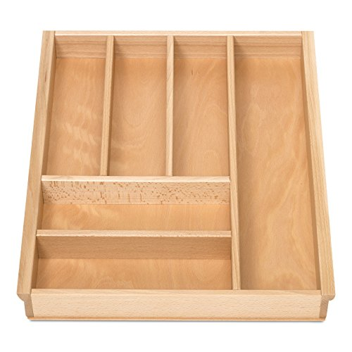 BUCHE Besteckeinsatz für 50er Schublade z.B. Nobilia ab 2013 (473 x 397 mm) Holz-Besteckkasten mit 6 Fächer ORGA-BOX III