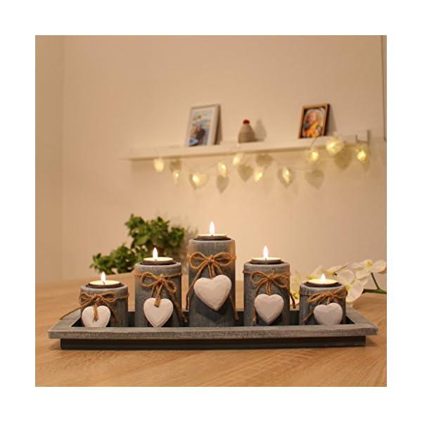 Teelichthalter Set Auf Holz Tablett Weihnachten Tischdekoration ...