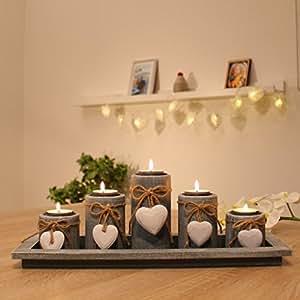 Teelichthalter set auf holztablett tischdekoration weihnachtsdeko innen tischdeko - Weihnachtsdeko fensterbank ...