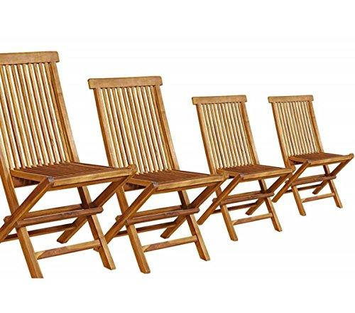 Lot de 4 chaises Pliantes en Teck huilé
