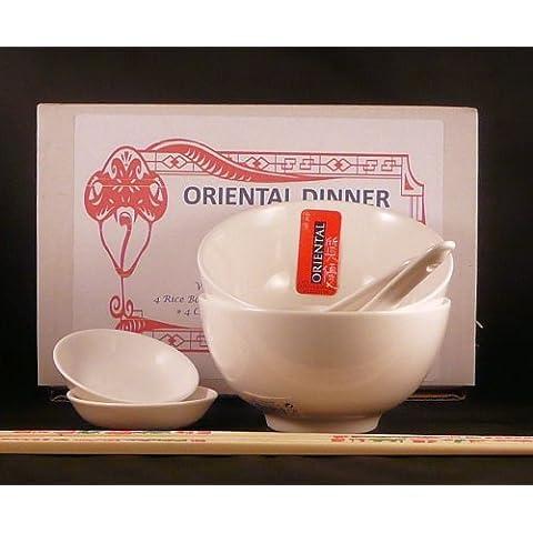 10 pezzi in porcellana vetrificata, Set da cena cinese orientale per due persone composto da 2 ciotole per riso, 2 cucchiai, 2 ciotole, 4 bacchette in melamina, colore: bianco (con caratteri cinesi)