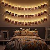 CozyHome Guirlande lumineuse à LED - 6 m - Avec prise d'alimentation non alimentée par piles - 20 pinces LED blanc chaud - Photos pour photo Polaroid - Chaîne décorative pour suspendre des photos