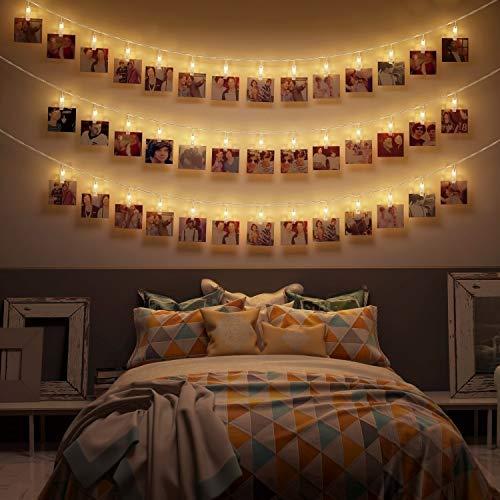 LED Fotoclips Lichterkette – 6 Meter | Mit Netzstecker NICHT batterie-betrieben | 20 LED Klammern warm-weiß | Fotoleine für Polaroid Foto | Deko Kette zum Aufhängen von Fotos | CozyHome ()