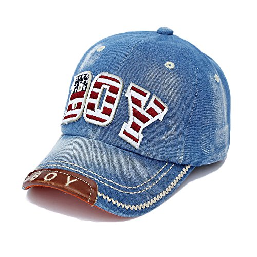 Baseballkappe Alphabet Stickerei Denim Hut Kappen für Jungen Mädchen, Blau
