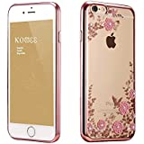 Silicon Rubber case [Super thin] Crashproof [Simple Fashion Style] Silicon Rubber case for iPhone 6 Plus,iPhone 6S Plus 5.5inch, Electroplate Protective Soft Shell Flowers Printings with Clear Gorgeous Rhinestone Crystal (iPhone 6/6S Plus 5.5inch, Rose Gold--Pink Flower)