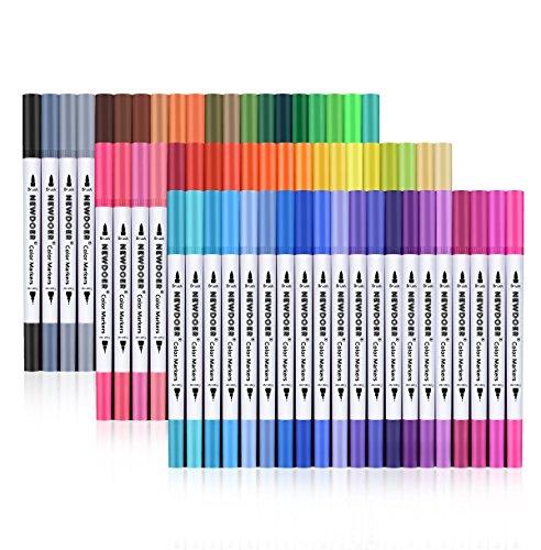 Newdoer Pennarelli a doppia punta, da 2 mm (a pennello) da 0,4 mm (fine) per disegnare, fare schizzi, dipingere e creare un effetto ad acquerello, 60-pack