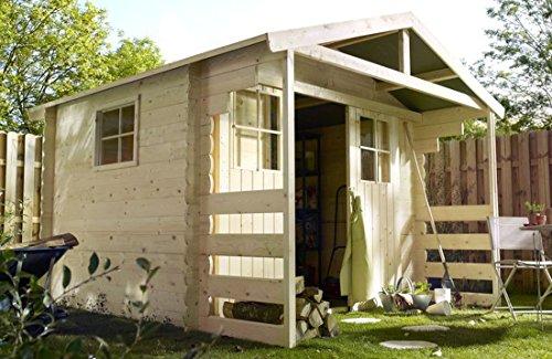 Alpholz Gerätehaus Lier aus Fichten-Holz 300 x 240cm | Gartenhaus Klein inkl. Dachpappe |...