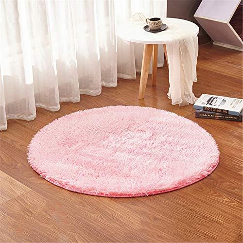 linyingdian 120cm (4-Feet) Runde Teppiche super weiches Wohnzimmer Schlafzimmer Home Shag Teppich (Rosa) -