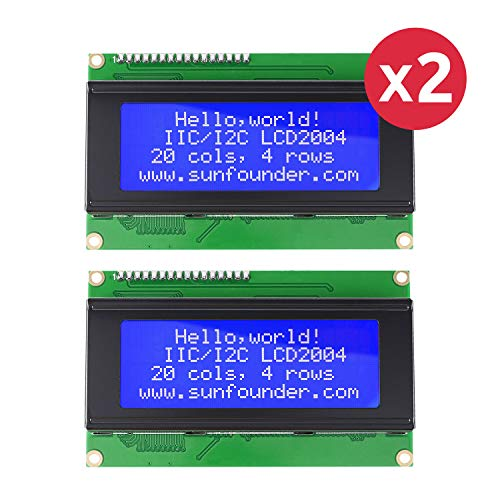 SunFounder LCD2004 Module with 3.3V Backlight for Arduino Uno R3 Mega2560 Raspberry Pi Display of 20x4 White Characters on Blue Background, 2 PCS (MEHRWEG) -