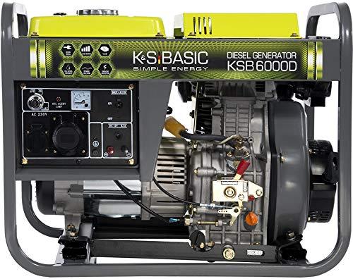 Könner & Söhnen KSB 6000D Stromerzeuger, 10,0 PS 4-Takt Dieselmotor, Kupfer Alternator, Automatischer Spannungsregler (AVR), 5500 Watt, 16A, 230V Ggenerator, für Haus, Garage oder Werkstatt