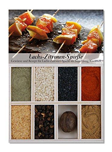 Lachs-Zitronen-Spieße - 8 Gewürze Set für Zitronige Lachsspieße mit Soja-Honig-Karamell (47g) - in einem schönen Holzkästchen - mit Rezept und Einkaufsliste - Geschenkidee für Feinschmecker von Feuer & Glas 8 Spieße