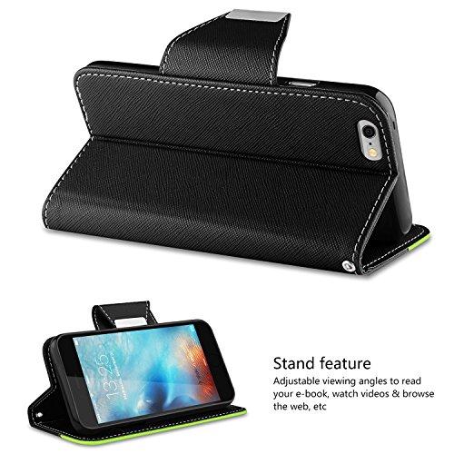 Coque iPhone 6, Vakoo iPhone 6S Coque Case Housse Etui TPU Bumper Cover pour Apple iPhone 6 / 6S (Noir Bleu) iPhone 6 Noir Vert