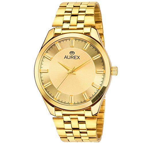 Aurex Awesome Analog Gold Dial 18 K Gold Pleating Watch Men's and Boy's Watch (AX-GR134-GLG)