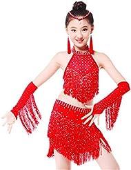 Niños latinos vestidos de danza muestran niñas vestidos de lentejuelas borla , 150cm , red