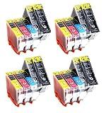 20 x XL Druckerpatronen mit CHIP & Füllstandanzeige kompatibel zu PGI-5BK CLI-8M CLI-8Y CLI-8C CLI-8BK, 4 x kompletter Satz Patronen für Canon
