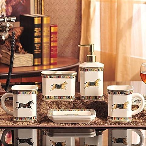 Salle de bains Kits de lavage des kits savon à la main Boîte à savon Brosse à dents tasse Rinçage tasse Cadeaux de mariage Céramique de luxe européenne Salle de bains cinq ensembles Couple brosse Dent cups , f