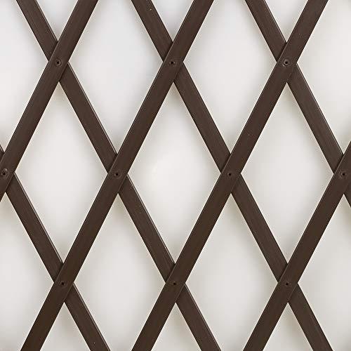 Treplas 0,50x2 m, marrone, traliccio estensibile in pvc per sostegno a muro di fiori e piante rampicanti