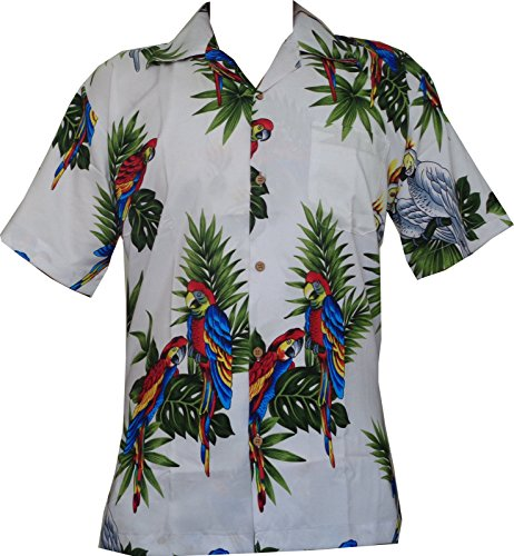 chemise hawaïenne Parrot Imprimer Bleu polyester Beach Camp Party Aloha white