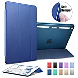 iPad Air 2 Case, ESR® Synthetic Leather Case Ultra Slim with Soft TPU Bumper Edge [Corner Protection] and Magnetic Auto Wake & Sleep Function for iPad Air 2 / iPad 6th Generation (Ming Blue)