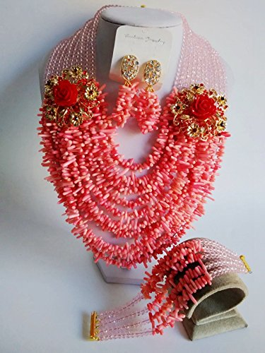 Laanc Mode du Nigeria africain traditionnel de mariage Perles 10 couches Corail Ensemble de bijoux - A0005 Pink and Water Red