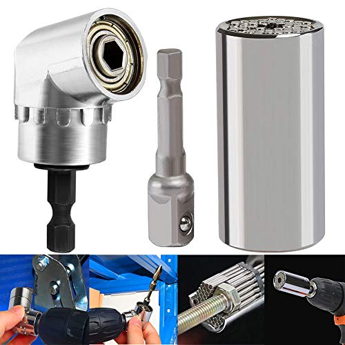 Universal Socket,BESTZY 3 Pcs Right Angle Drill 105 Degree and Universal Socket Grip 7-19mm Multi functional for Universal Repair Tools