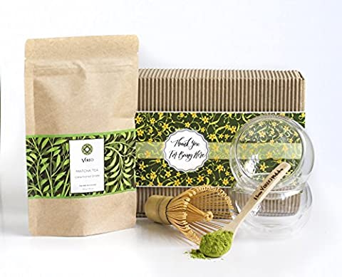 Thé vert matcha Incroyable Cadeau Artisan Ensemble–Eco Panier Boîte avec 50g Thé, fouet, cuillère et 2tasses Japanese Summer 50g Set 3 Vert profond