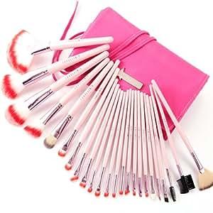 fräulein38Astuccio Rosa Scuro Pennelli di Trucco Ombra Fard Kit Professionale Spazzola Brush 24pezzi