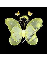 HuntGold Kid Fille Motif Papillon Baguette aile Bandeau Fée Parti Cosplay Costume Fancy 3/set jaune