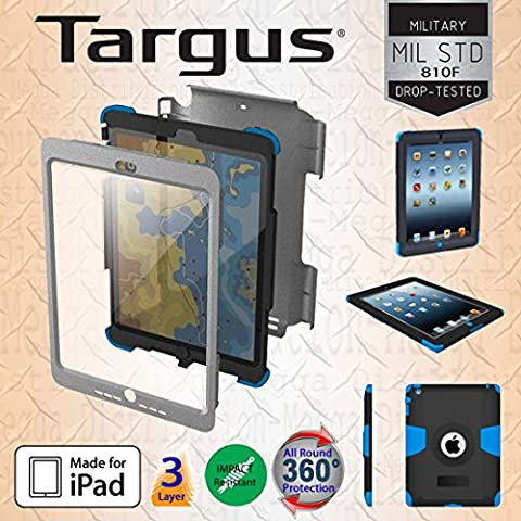 Targus SafePort Rugged Max Pro All Round 360° Military Duty Case Cover - 3 Layer Hybrid Protection with Silicone and Polycarbonate Body including Hard Screen Protector *for Apple iPad 2 / 3 / 4*