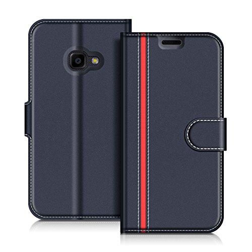COODIO Samsung Galaxy Xcover 4 Hülle Leder Lederhülle Ledertasche Wallet Handyhülle Tasche Schutzhülle mit Magnetverschluss/Kartenfächer für Samsung Galaxy Xcover 4, Dunkel Blau/Rot