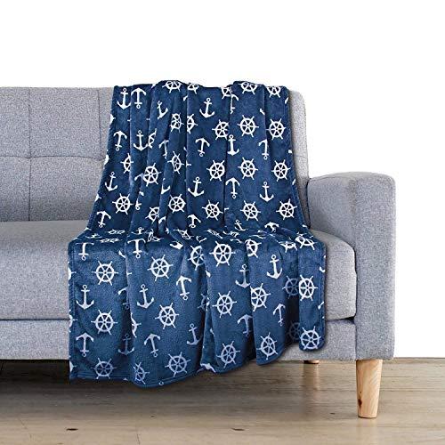 Delindo Lifestyle® Kuscheldecke Nautic BLAU, Microfaser Fleece-Decke in 150x200 cm, flauschig weiche Maritime Wohndecke für Erwachsene und Kinder -