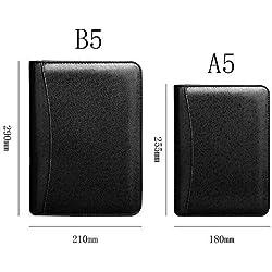 Lvcky - Cartera de Piel para Negocios, con calculadora, Organizador de Billetera Compacto, con Rayas, con Cremallera, Color Negro B5